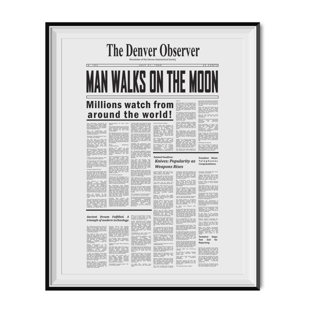 We Landed On The Moon Man Walks On The Moon Article Poster 11 x 17