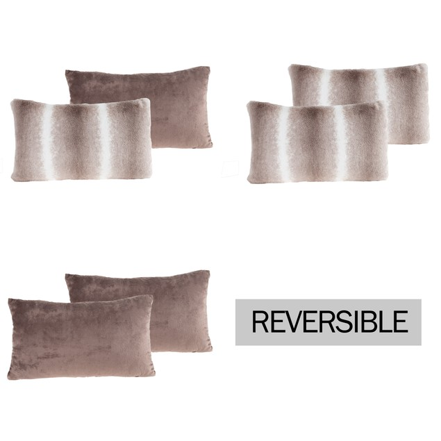 """11x19"""" Plush Lumbar Pillows – Set of 2 Variegated Gray to White Pillow Inserts and Covers – For Bedroom or Living Room by Lavish Home"""