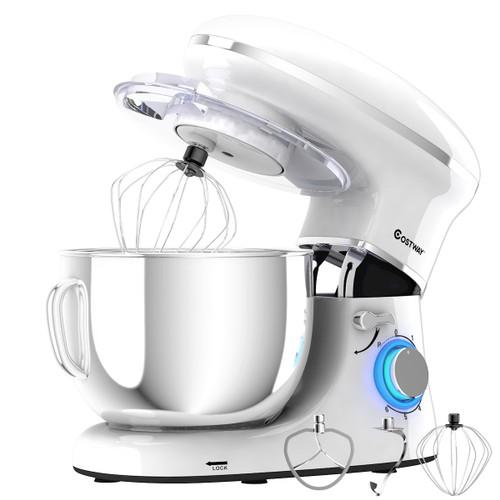 Costway 6.3 Quart Tilt-Head Food Stand Mixer 6 Speed 660W White