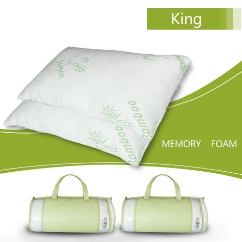 2 PCS Cooling Shredded Memory Foam Pillow Bamboo Ultra Luxury Cover Ki