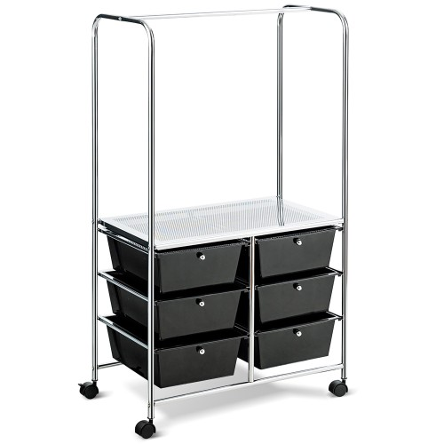 Costway 6 Drawer Rolling Storage Cart w/Hanging Bar Office School Organizer