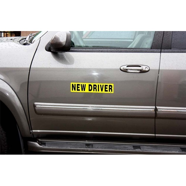Zone Tech 3x New Driver Magnet Reflective Magnetic Vehicle Car Signs Decal