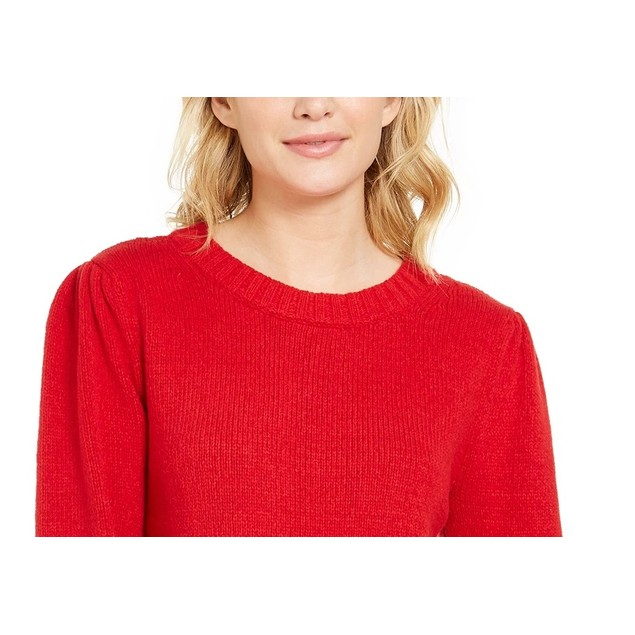 Style & Co Women's Puffy Sleeve Sweater Dark Red Size Small