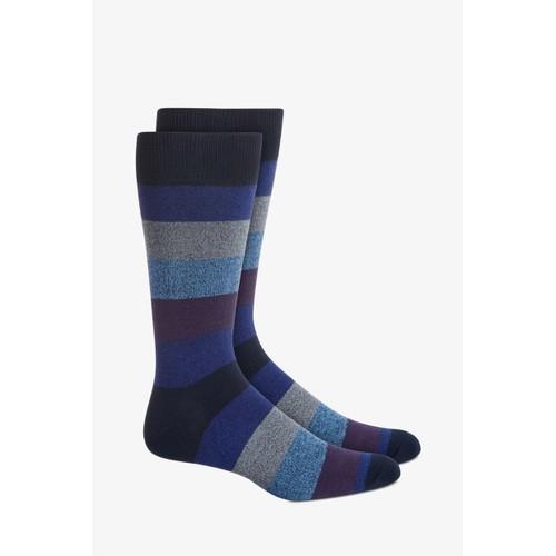 Perry Ellis Men's Rugby-Stripe Socks Navy Size Regular