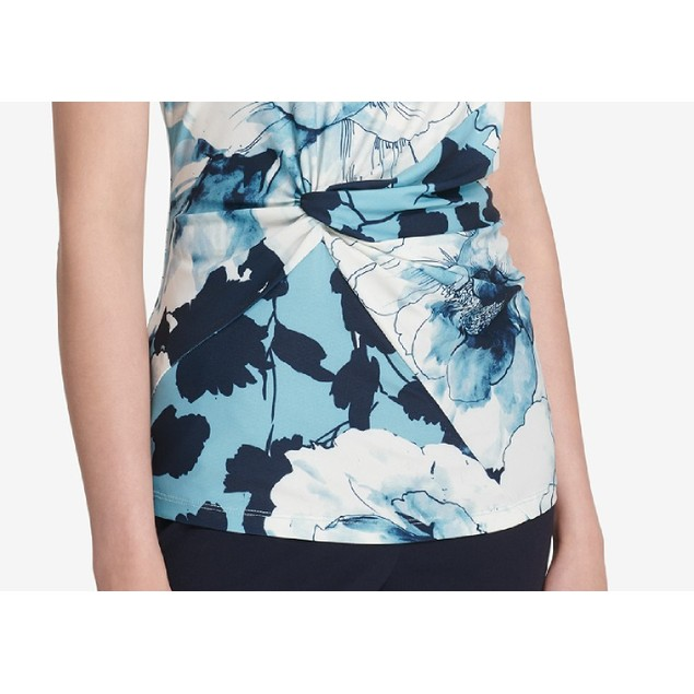 DKNY Women's Floral-Print Side-Knot Shell Blue Size Large