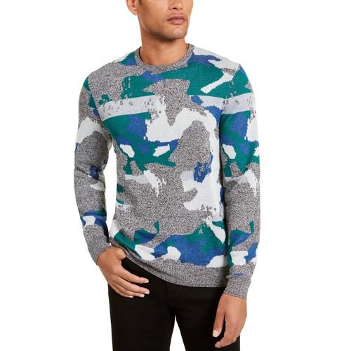 Alfani Men's Abstract Jacquard Crewneck Sweater Green Size Large