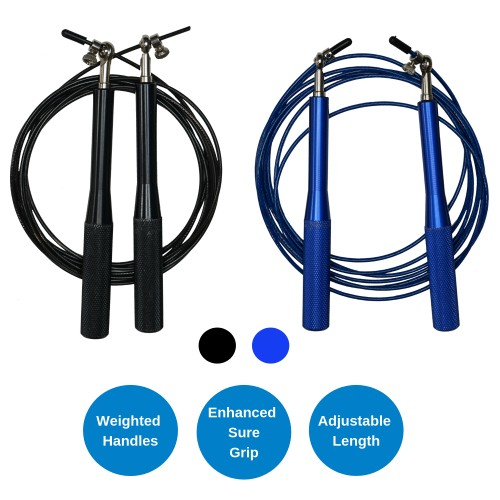 Weighted Jump Rope with Adjustable Steel Wire Cable - Best for Speed Jumping