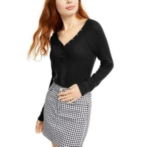 Ultra Flirt Juniors' Cozy Waffle-Knit Henley Top Black Size Small