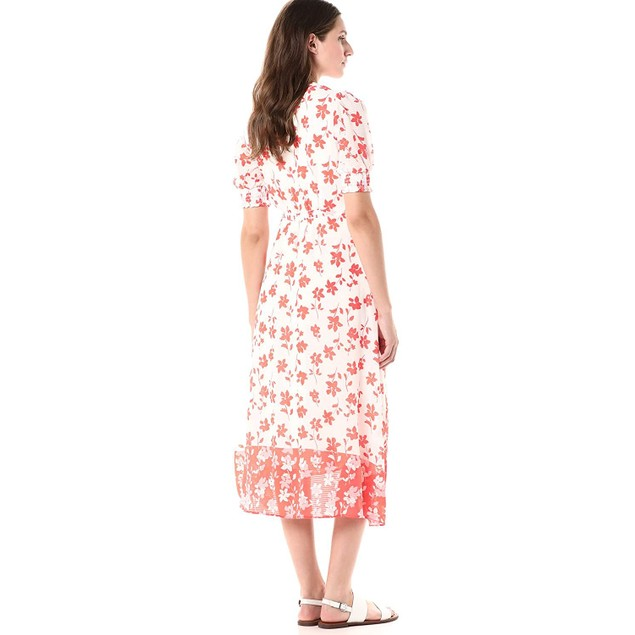 Gabby Skye Women's V-Neck Short Sleeve Printed Sheer Wrap Dress, 10,