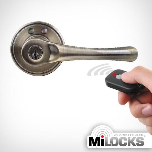 MiLocks Keyless Entry Lever Handle Door Lock with Remote Control