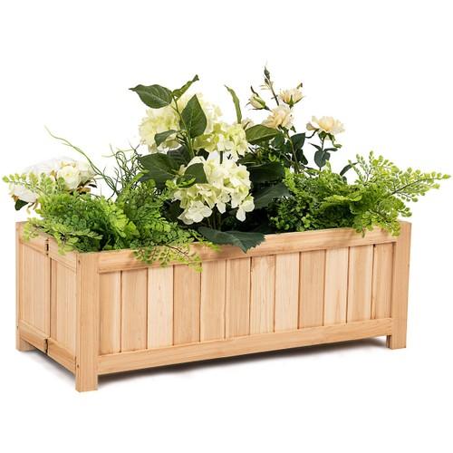 Costway Rectangle Wood Flower Planter Box Portable Raised Vegetable Patio L
