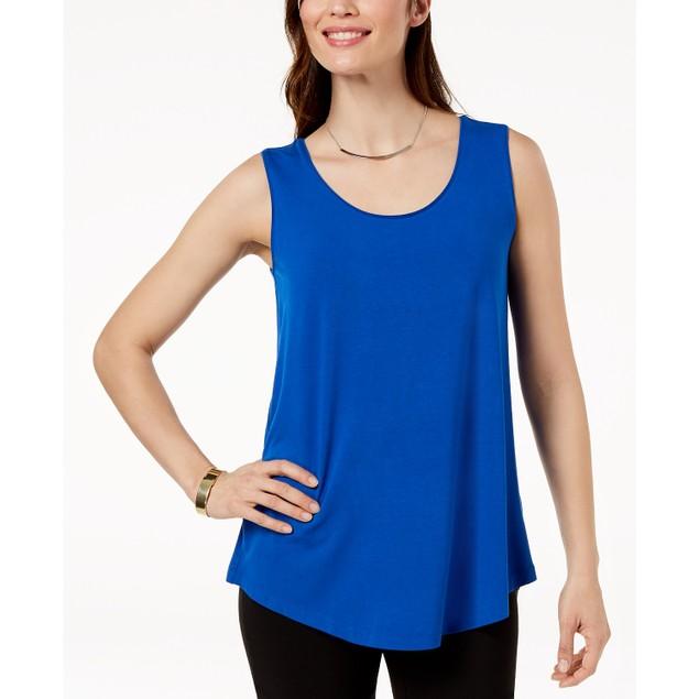 JM Collection Women's Scoop Neck Tank Top Blue Size Medium
