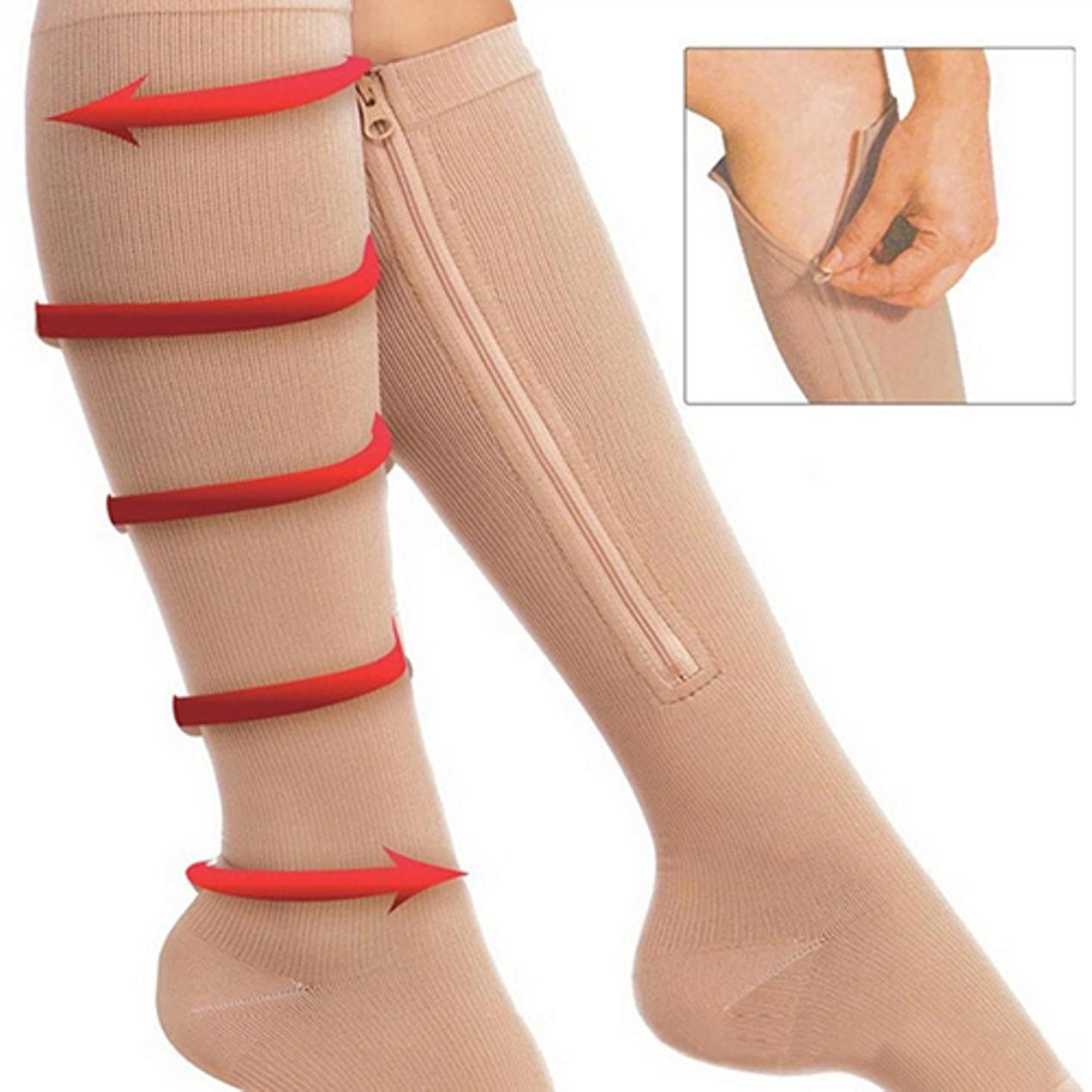d5a4d0ee25 Open Toe Knee High Anti-Fatigue Zip Leg Compression Support Socks ...