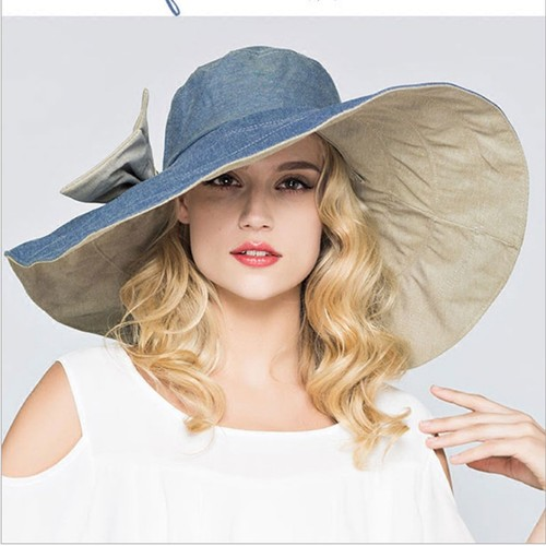 Women's Summer Outing Sunscreen Foldable Sun Hat Double-sided Big Brim Beach Hat