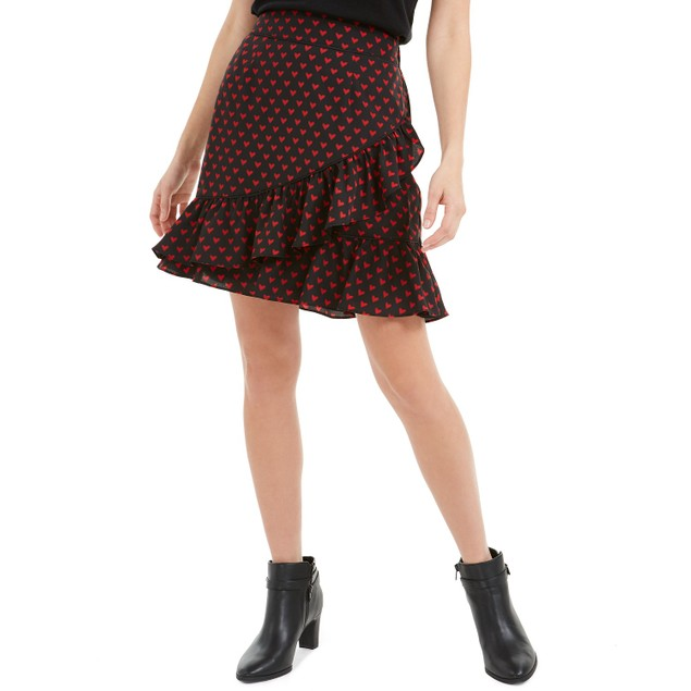 Maison Jules Women's Printed Cross-Ruffled Skirt  Black Size Small
