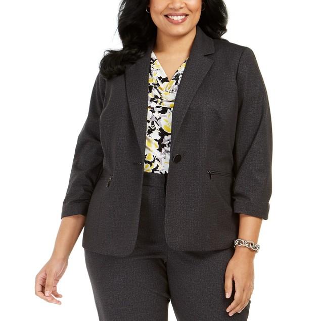 Kasper Women's Plus Size One-Button Blazer Charcoal Size 14W