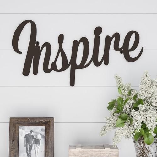 """INSPIRE"" Rustic Metal Cutout- Inspired Sign-3D Wall Art"