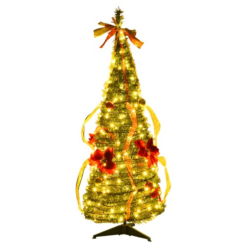 COSTWAY 4ft Pre-Lit Christmas Tree Fully Pull Up Tree Flat-to-Fabulous Ligh