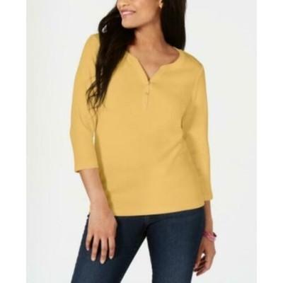 Karen Scott Women's Petite Cotton Henley Shirt Brown Size Petite