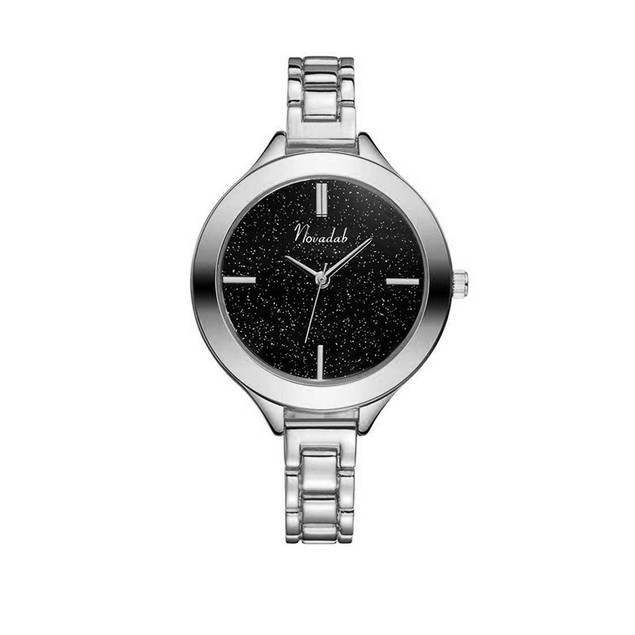 Novadab Stunning Galaxy-Style Black-Dial Sleek Ladies Analog Watch (Silver)