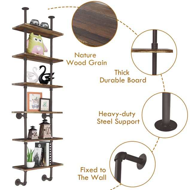 Costway 6-Shelf Rustic Pipe Shelving Unit, Vintage Industrial Pipe Wall She