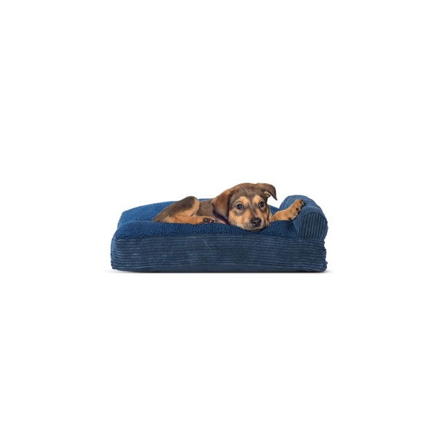 FurHaven Faux Fleece & Corduroy Chaise Lounge Pillow Sofa Pet Bed