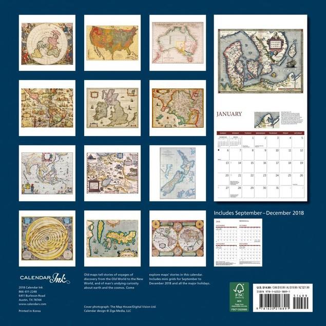 Antique Maps Wall Calendar, Maps by Calendars