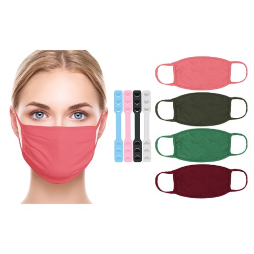 100% Cotton Breathable Face Masks with Bonus Extenders (8-Pack)
