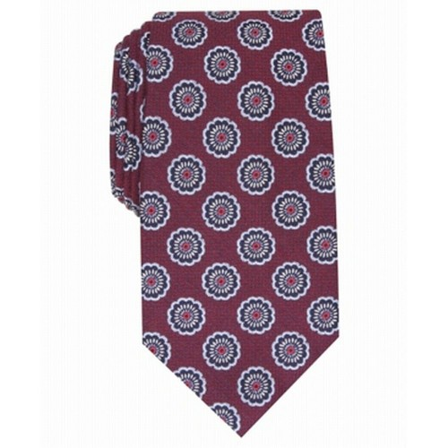 Tasso Elba Men's Classic Medallion Silk Tie  Red Size Regular