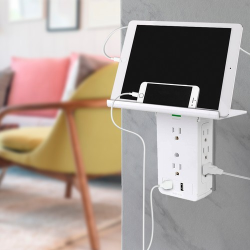 Aduro Shelf Series Surge Protector with 8 Outlets & Dual USB Ports
