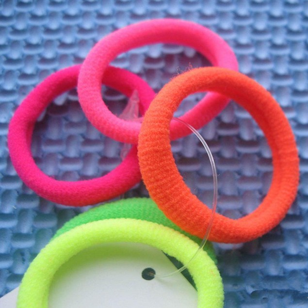 50Pcs Girls Fluorescence Hair Band Ties Rope