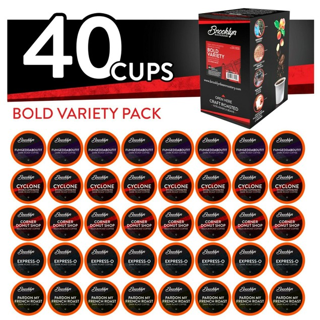 Brooklyn Beans BOLD Variety Pack Coffee Pods for Keurig 2.0 Brewer, 40 Count