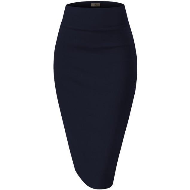 Premium Nylon Ponte Stretch Office Pencil Skirt (S-3X)