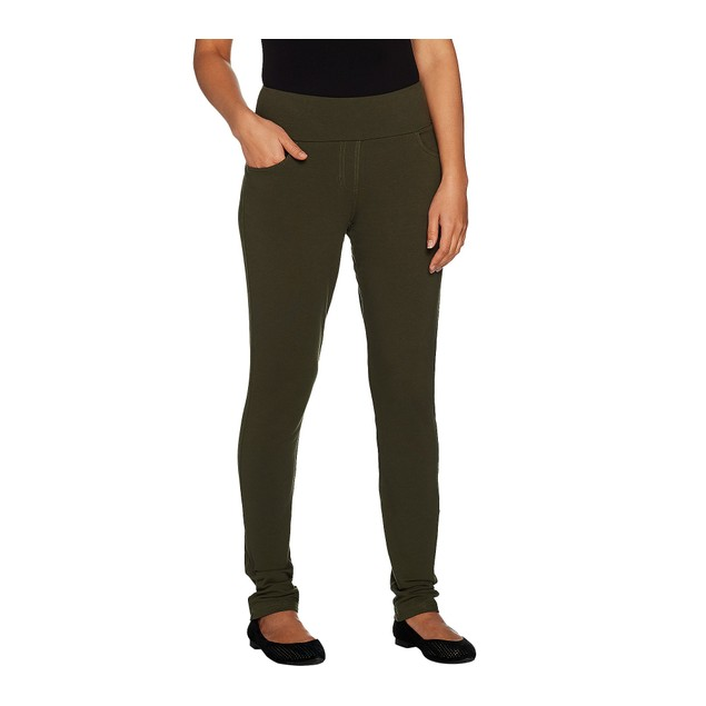 Denim & Co. Active Petite Pull-On Slim Leg Pants, Petite 3X, True Olive