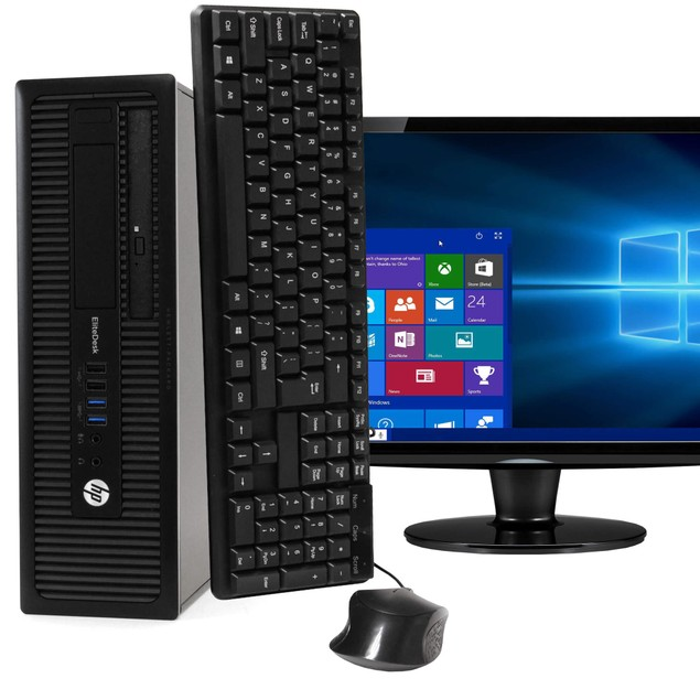 "HP 800G1 Desktop Intel i5 16GB 500GB HDD Windows 10 Professional 22"" Monito"