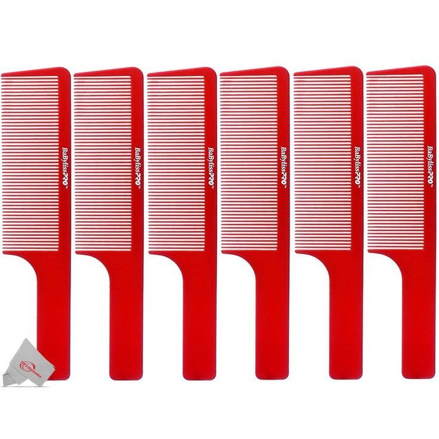 Six BaBylissPRO Barberology 9 Inch Clipper Comb - Red