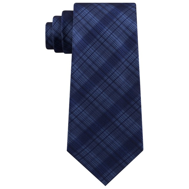 Kenneth Cole Reaction Men's Tonal Iridescent Check Tie Navy Size Regular