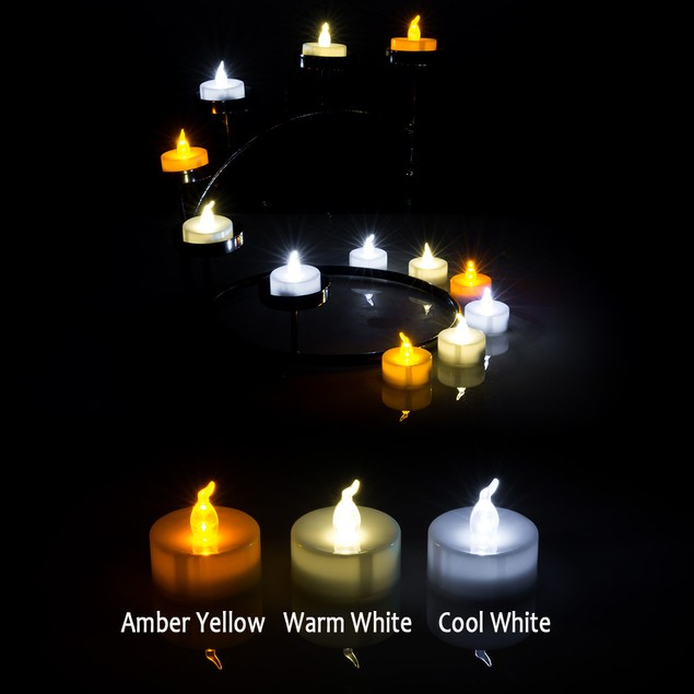 60PCS COOL WHITE LED CANDLE LIGHT FLAMELESS TEALIGHT COIN BATTERY OPERATED