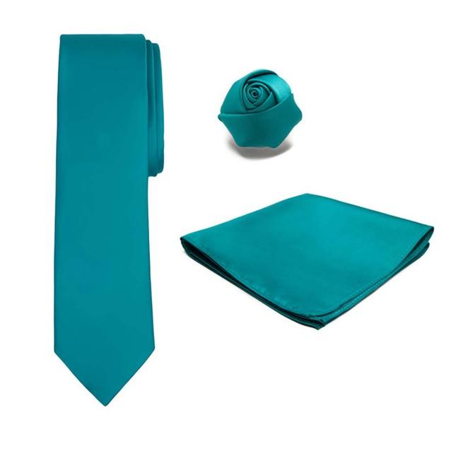 Men's XL Tie Hanky Rose Lapel Flower 3 pc Set