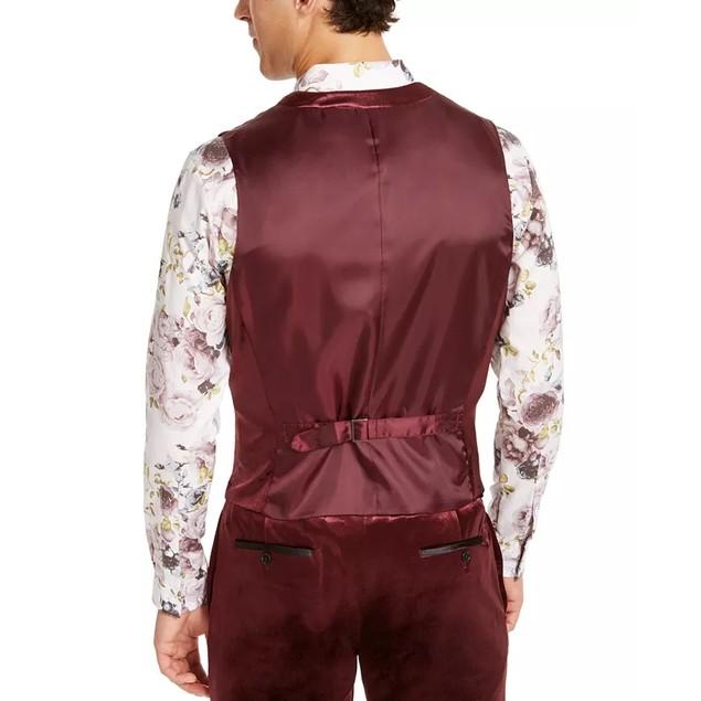 INC International Concepts Men's Slim-Fit Shiny Velvet Vest Red Size Large