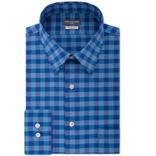 Van Heusen Men's Fit Flex Collar Check Dress Shirt Aqua Size 16-36-37