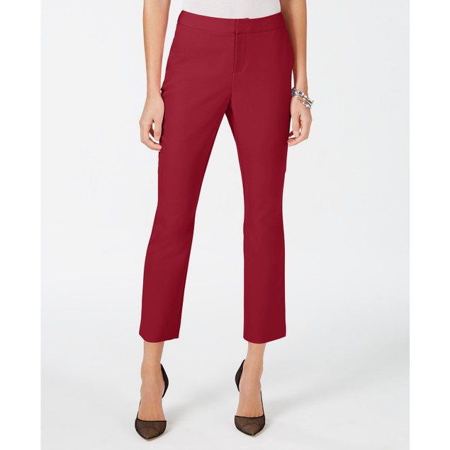 INC International Concepts Women's Cropped Straight-Leg Pants Red Size 6