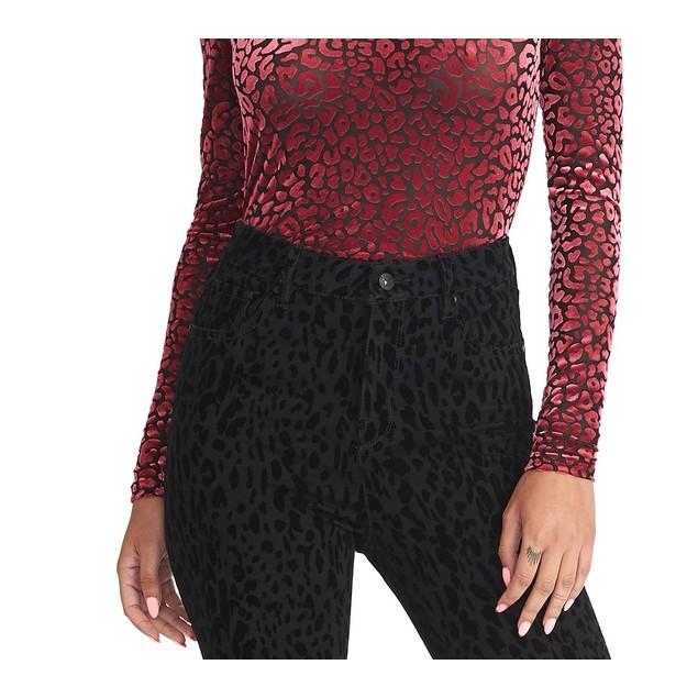 Rachel Roy Women's Val Flocked Turtleneck Top Pink Size Medium