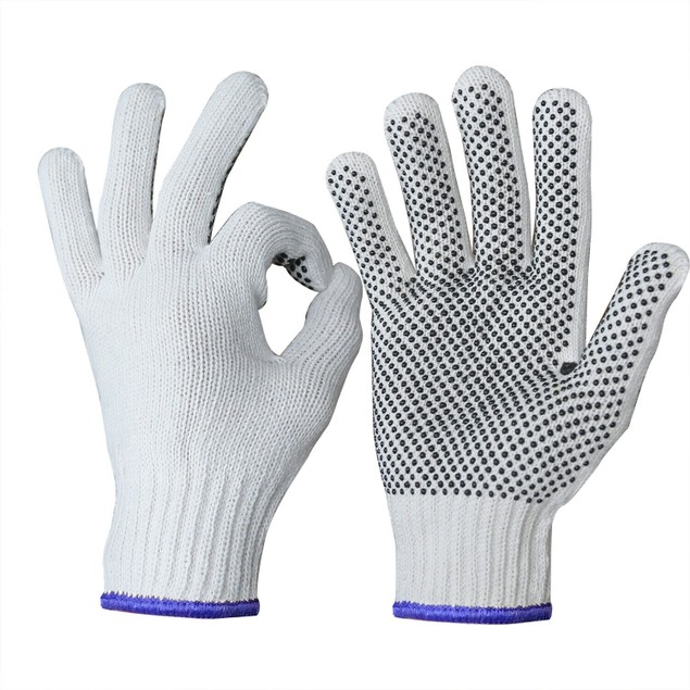 240 Pairs: Cotton Polyester String Knit Dotted Safety Protection Work Glove