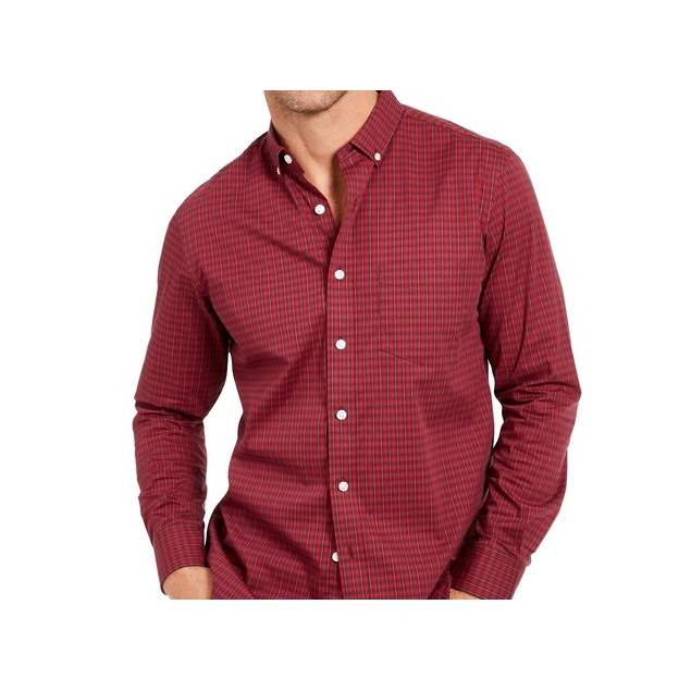 Club Room Men's Regular-Fit Stretch Check Shirt Red Size Small