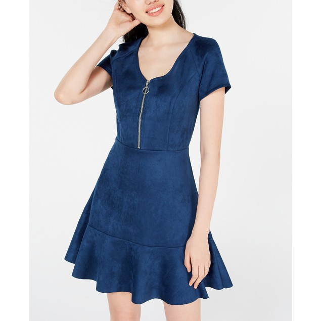 Rosie Harlow Juniors'  Zip-Front Fit & Flare Dress Navy Size Medium
