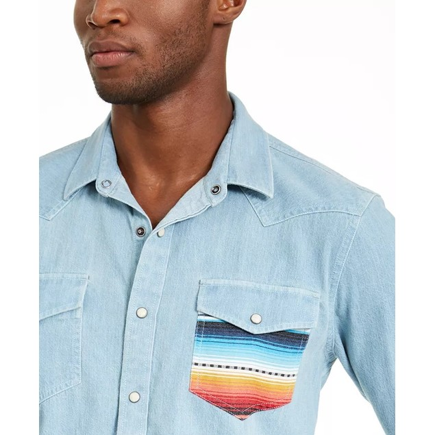American Rag Men's Antonio Western Shirt  Blue Size Medium