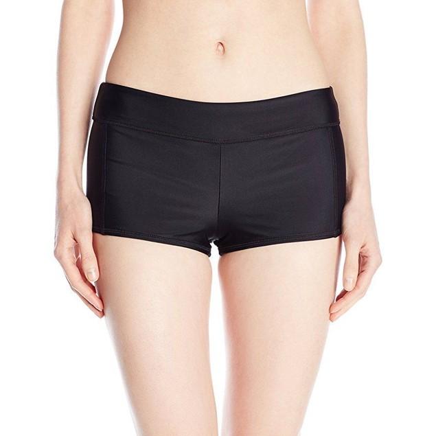 Speedo Women's Solid Boyshort Bikini Bottom, Black, Small SZ: S