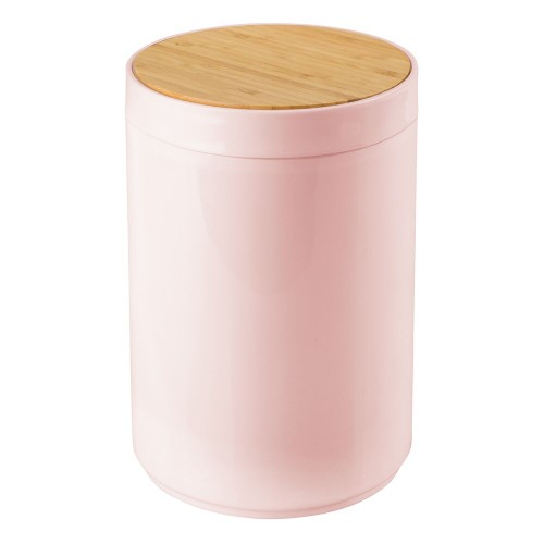 mDesign Plastic/Bamboo Small Round Trash Can Wastebasket, Swing Lid
