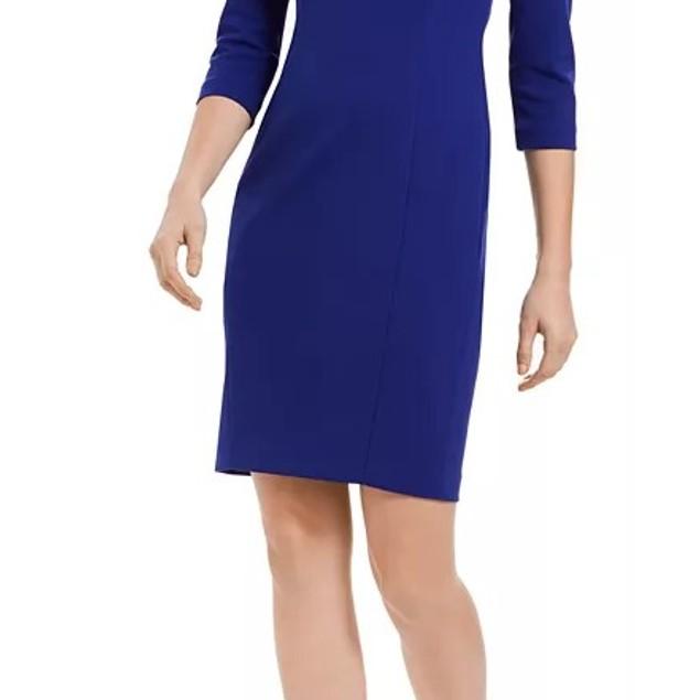 Calvin Klein Women's U Neck Sheath Dress Blue Size 16